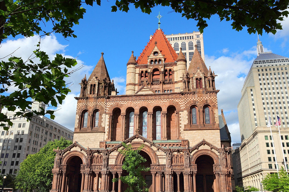 the Romanesque-Ricardian Trinity Church in Copley Square