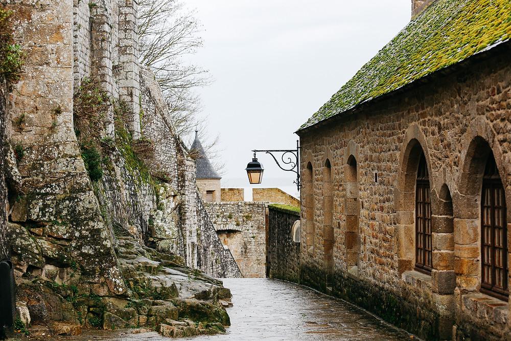 cobbled streets in Mont Saint-Michel