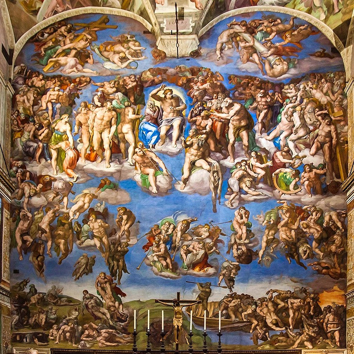 Michelangelo's The Last Judgment fresco on the altar wall of the Sistine Chapel in the Vatican