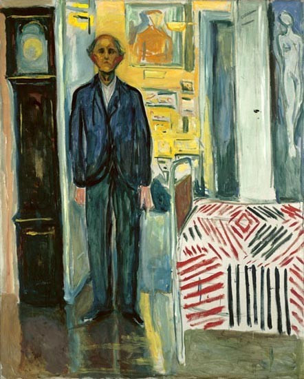 Edvard Munch, Self Portrait Between Clock and Bed, 1940-43