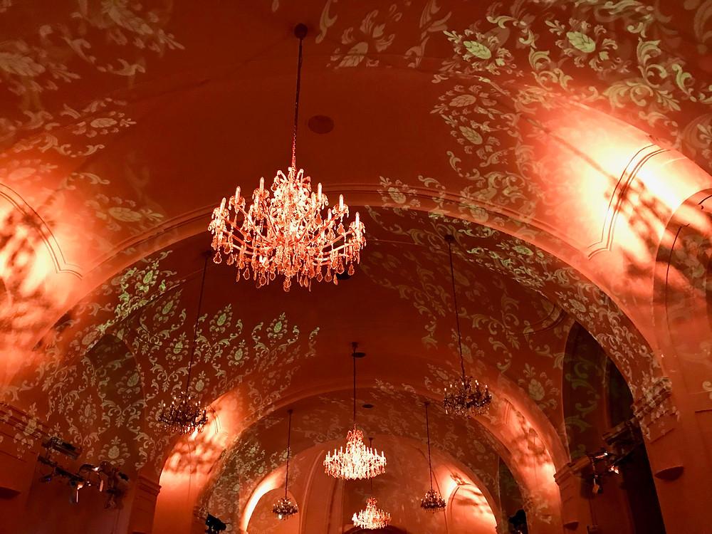 Schönbrunn's Orangery, lit up at night for a classical music concert