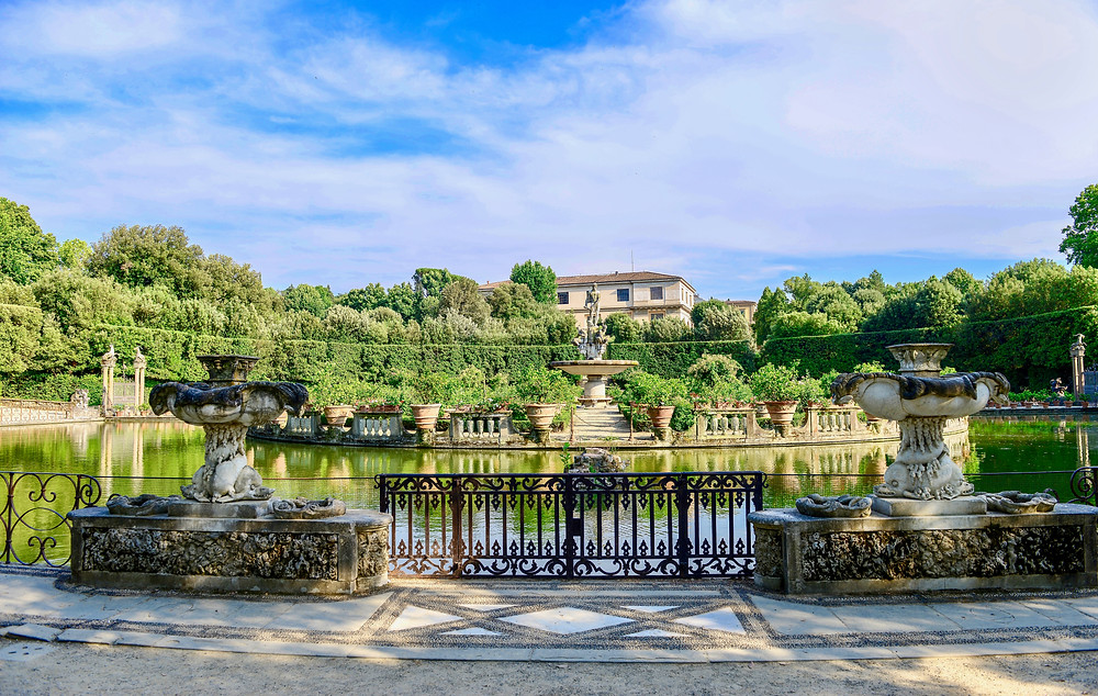 the Boboli Gardens behind the Pitti Palace