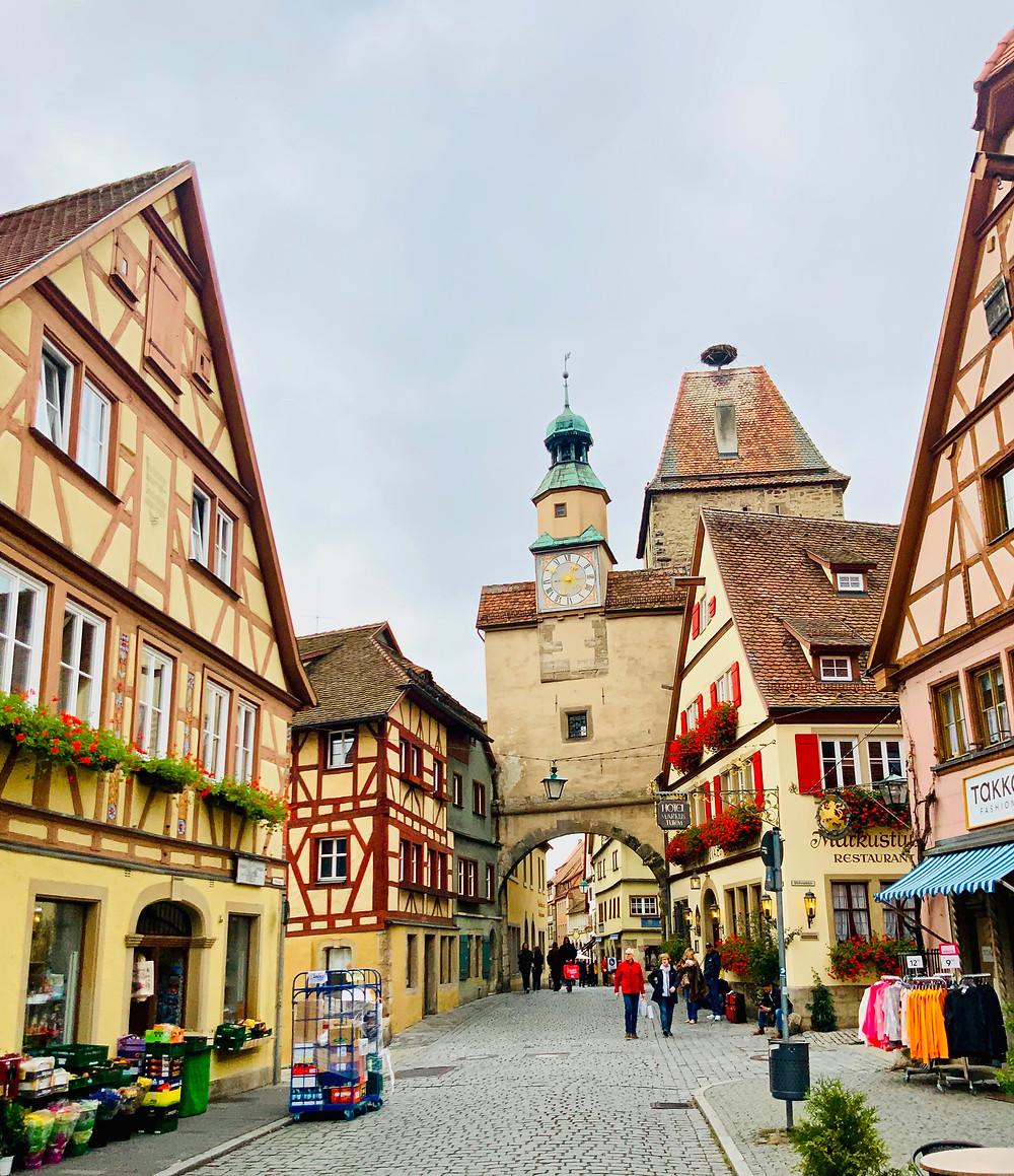 pretty street in Rothenburg ob der Tauber in Bavaria