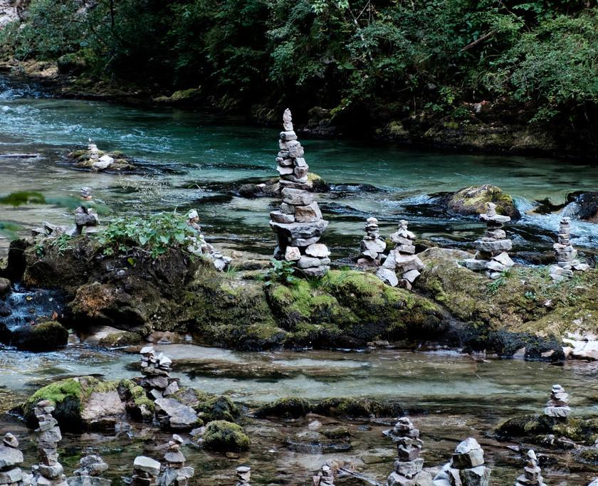 rock formations in Vintgar Gorge in Slovenia