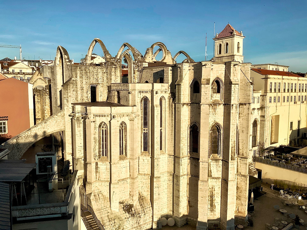 view of Igreja do Carmo from the Santa Justa Elevator