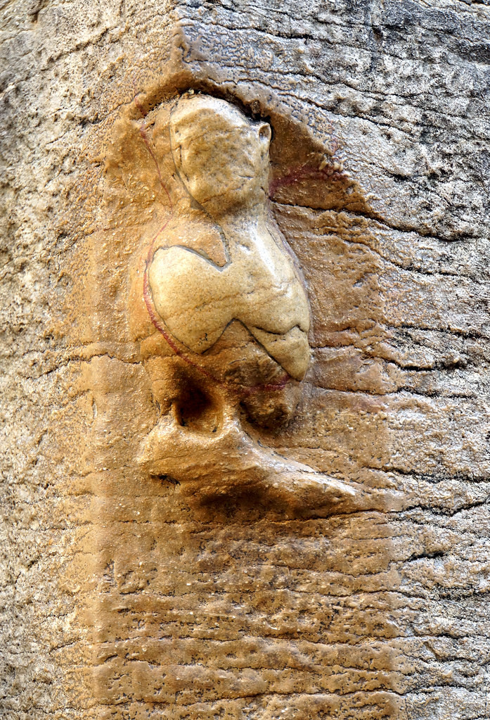 stone owl on the face of Notre-Dame church in Dijon France