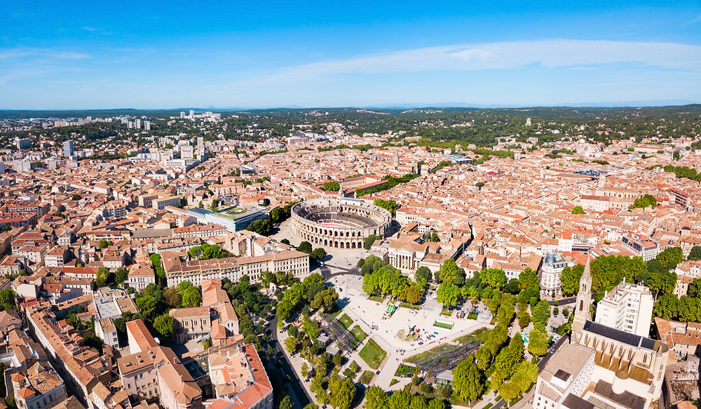 aerial view of Nimes and its fabulous Roman arena