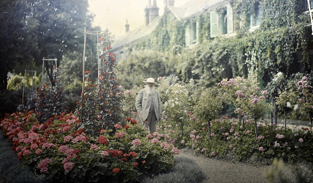 Claude Monet in his Giverny gardens