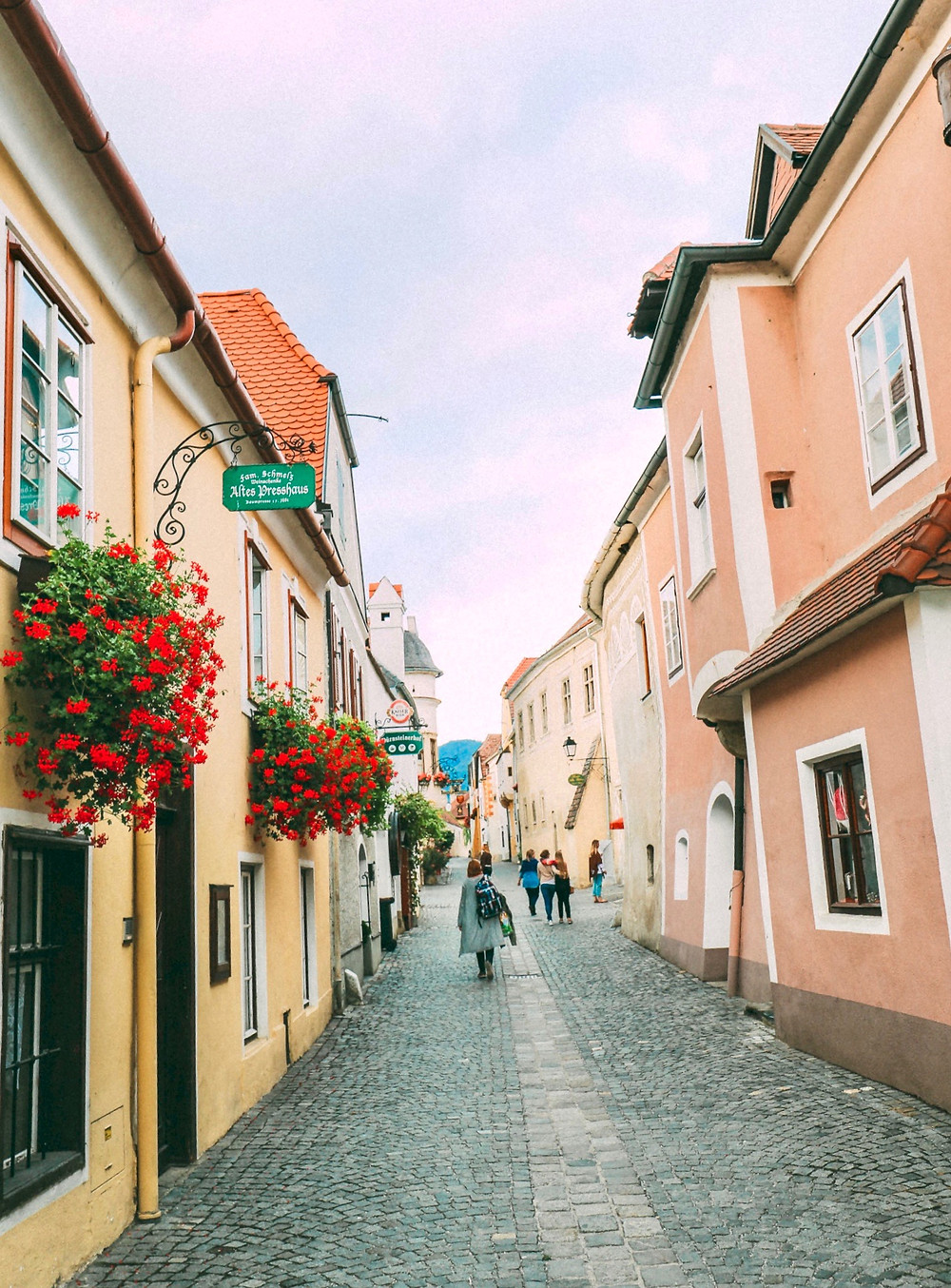 pastel houses line the cobbled streets of Durnstein Austria