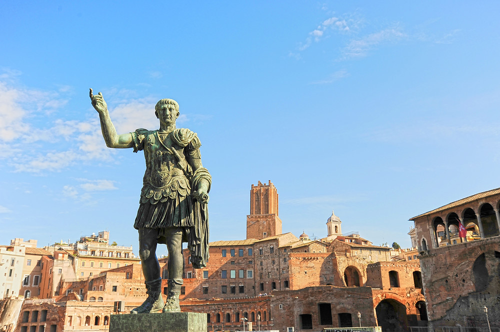 bronze statue of Julius Caesar on Via dei Fori Imperiali