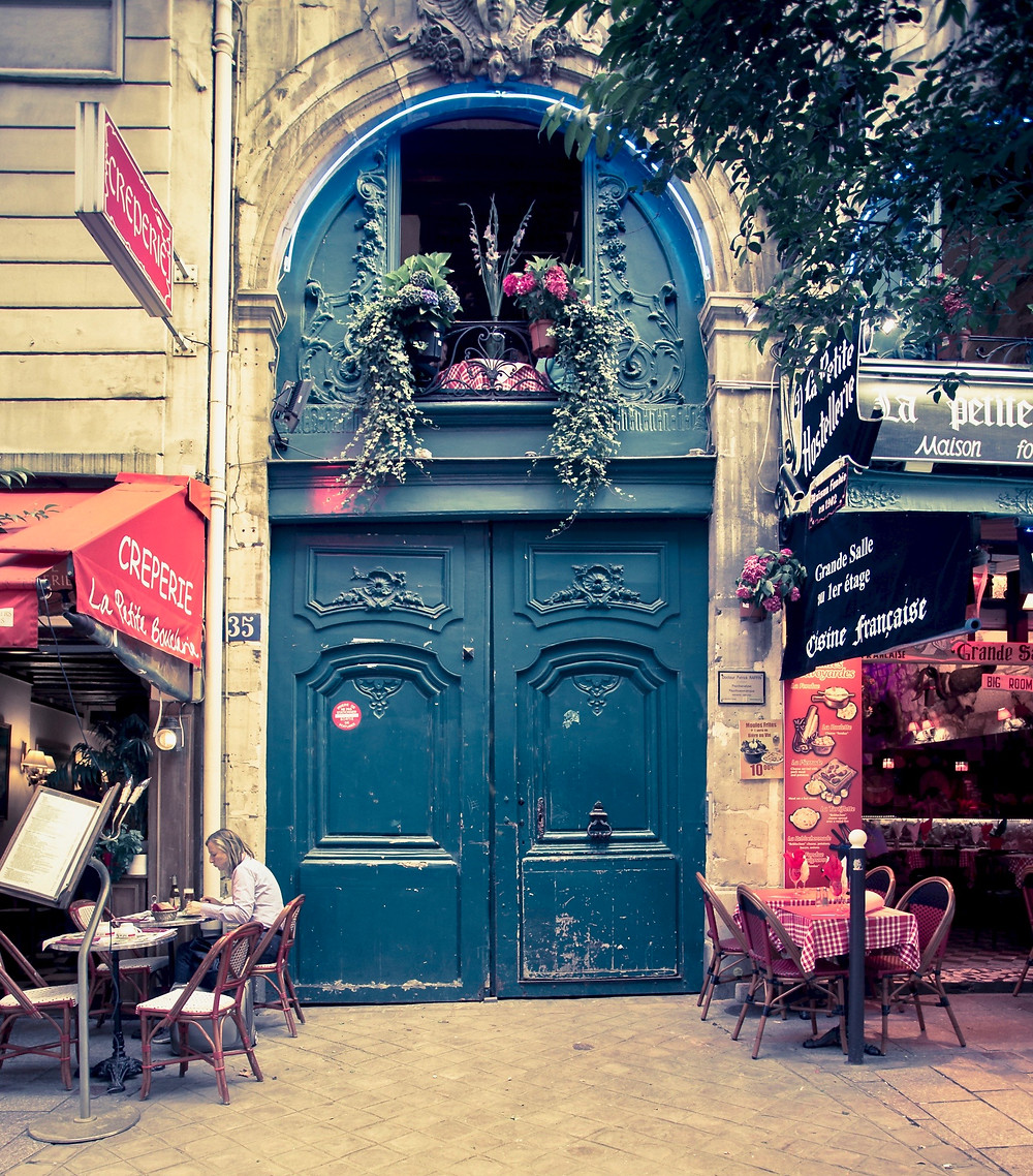 cafe in the Latin Quarter with beautiful door