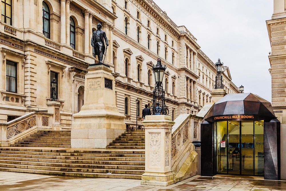 Clive Steps and the entrance to the Churchill War Rooms