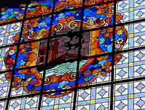 art deco stained glass in the Ribera Market
