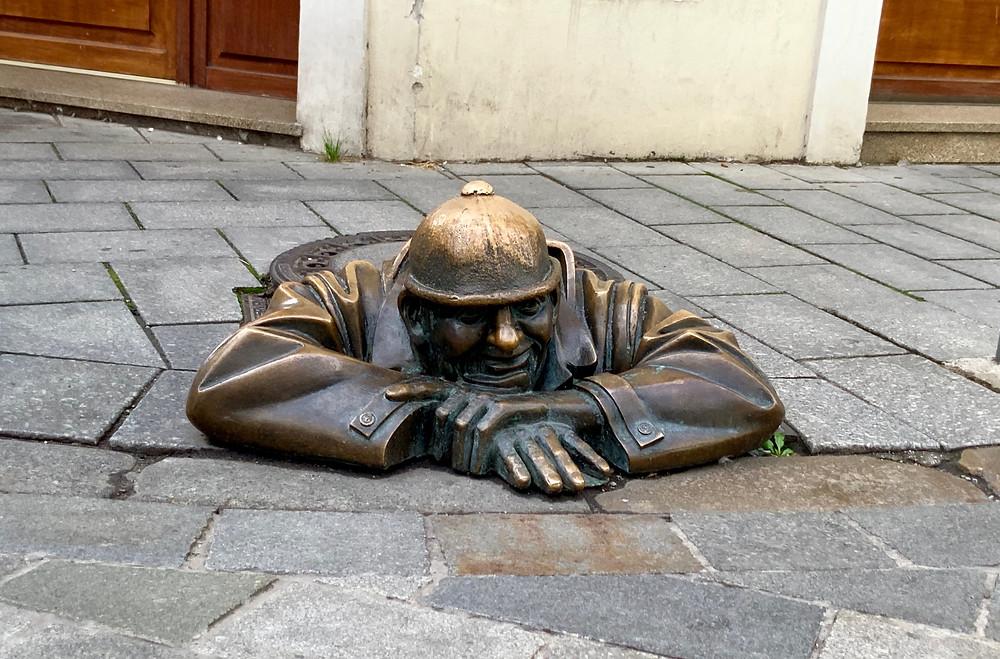 "Bratislava's ""Man at Work"" sculpture"