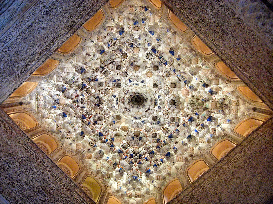 elaborate ceiling of the Palace of the Lions in the Nasrid Palace