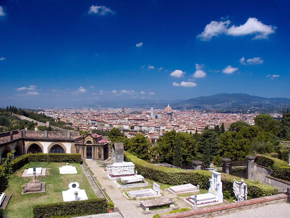 view from the Delle Porte Sante Cemetery