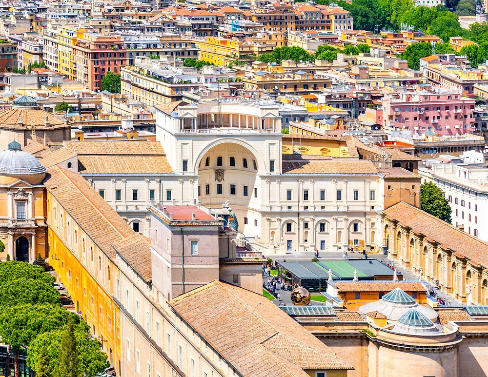 aerial view of the Vatican Museums