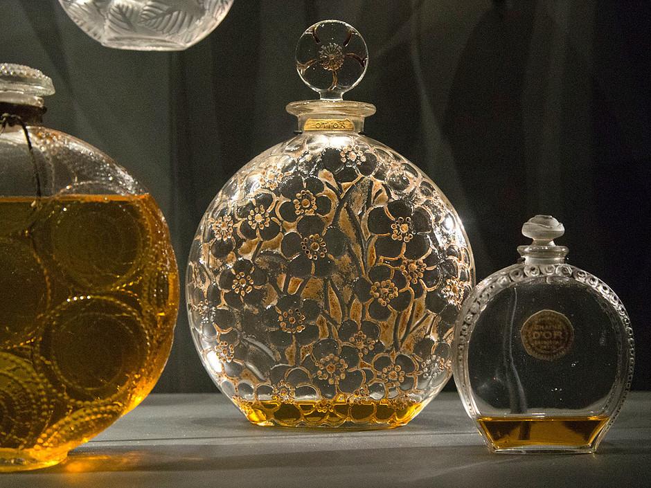 intricate cut glass perfume bottles at the Fragonard Museum
