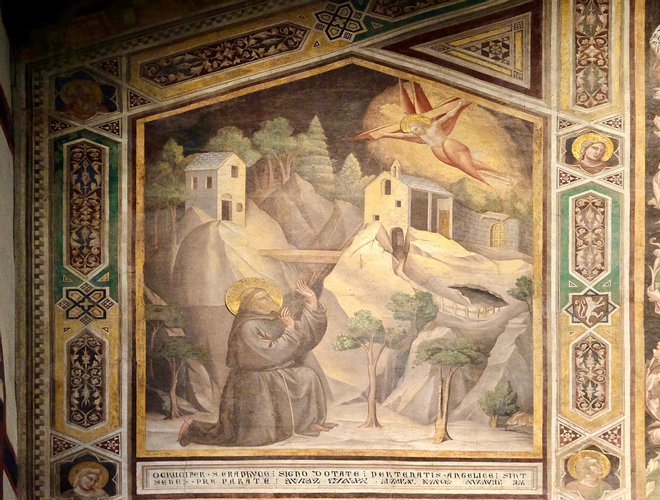 St. Francis Receiving the Stigmata, fresco by Giotto, in the Bardi Chapel