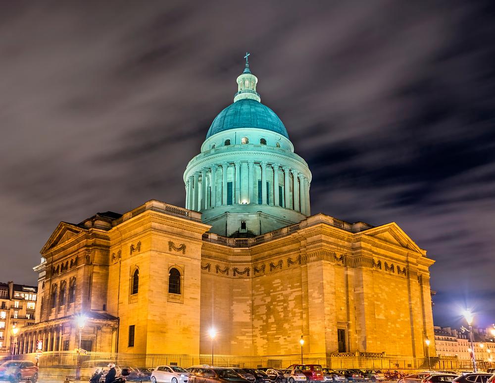 the Pantheon, lit up at night