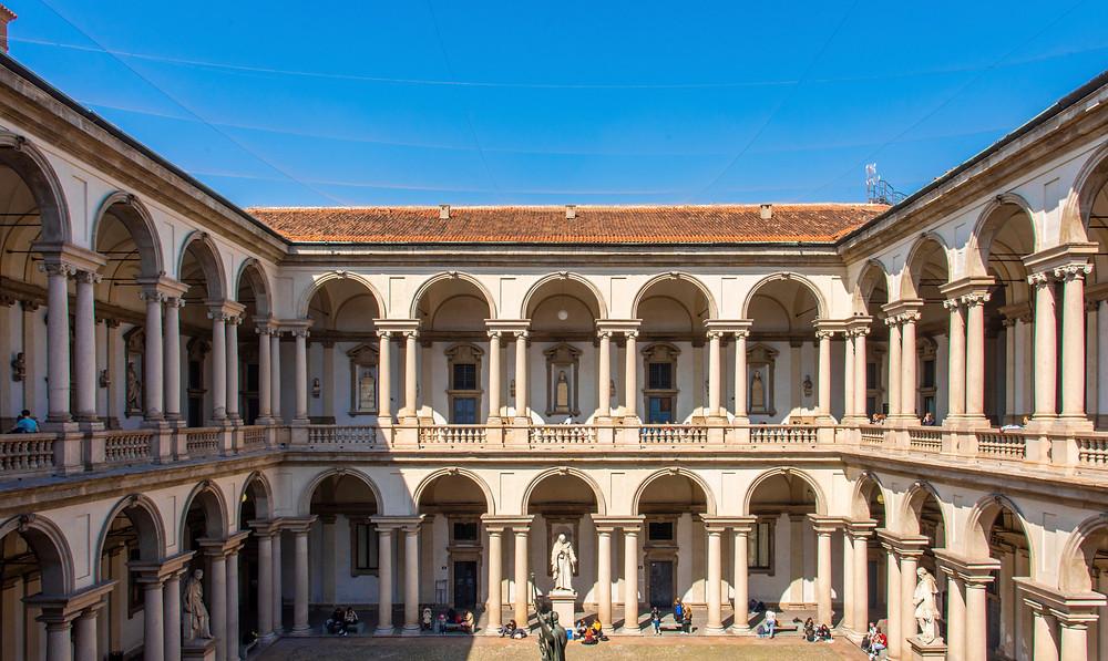 courtyard of the Pinacoteca di Brera in Milan