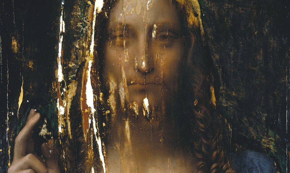 Salvator Mundi painting after touch ups had been removed. image source:  Photograph of the restorer Dianne Modestini
