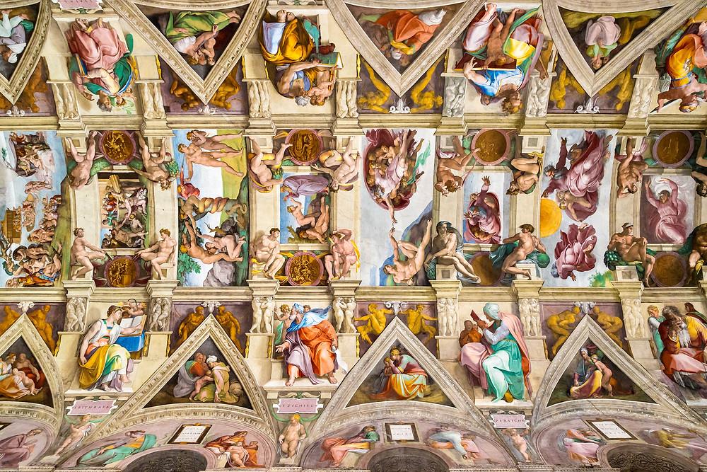 Michelangelo's ceiling in the Sistine Chapel