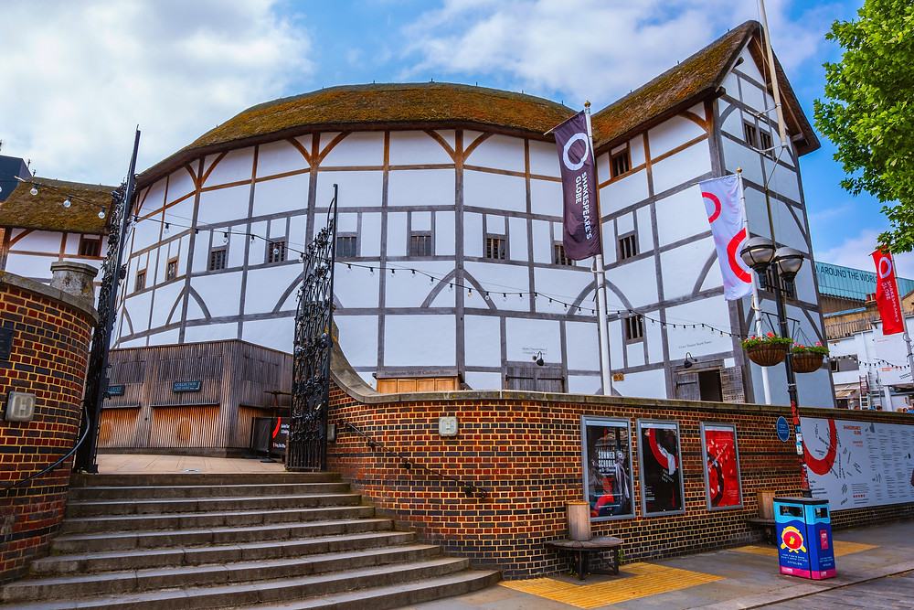 the Globe Theater on the south bank of the Thames