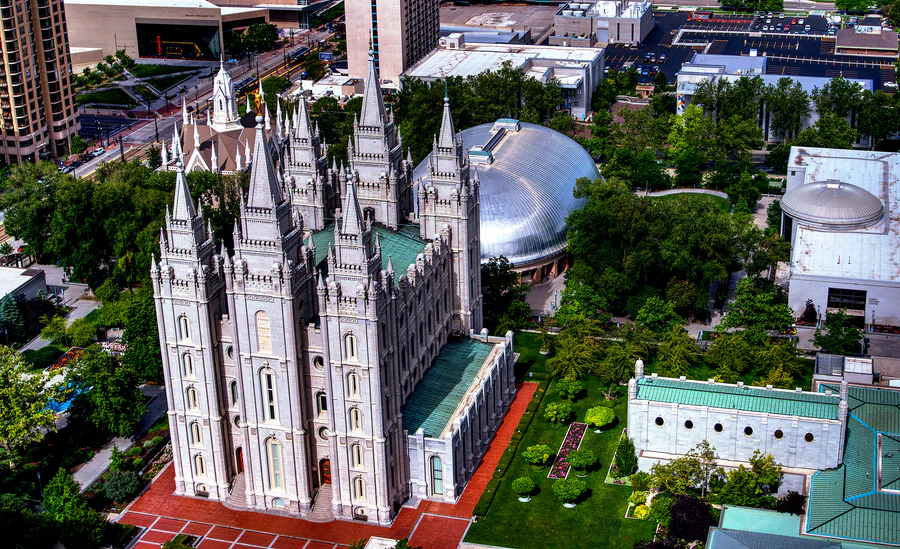 aerial view of Temple Square