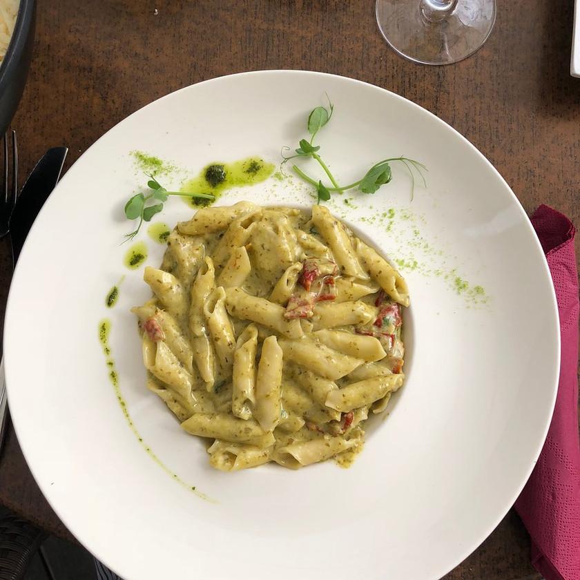 pesto pasta for lunch at Grajska Plaza in Bled Slovenia