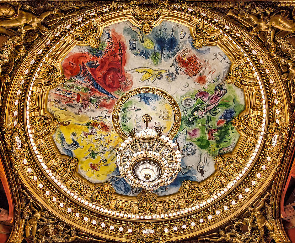 the beautiful Marc Chagall ceiling in the Opera Garnier in Paris