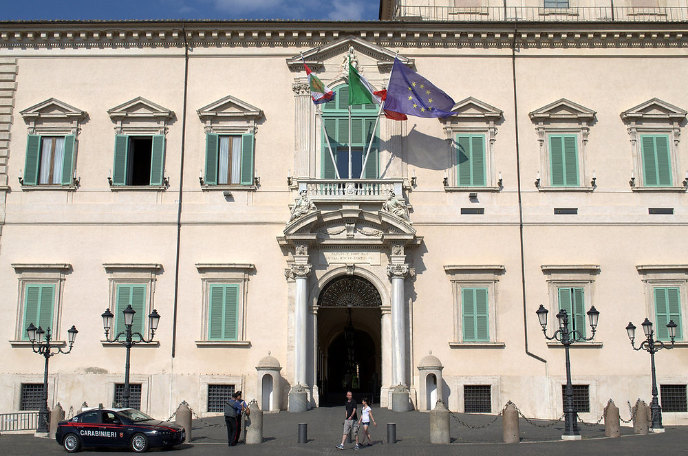 facade of the The Quirinal Palace in Rome