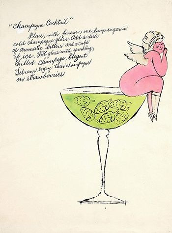 Andy Warhol, Champagne Cocktail, with his mother's calligraphy