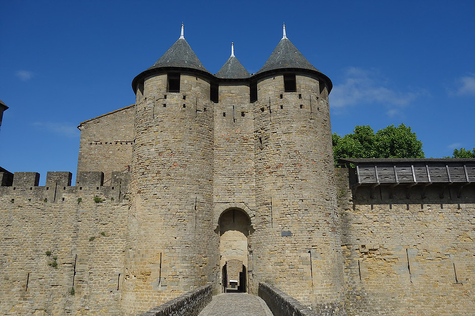 the entrance to the medieval town of Carcassonne