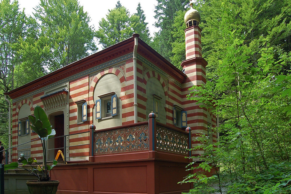 The Moroccan House in Linderhof Palace Park. Ludwig purchased it at the 1878 World Fair. It was rebuilt and restored in 1998.
