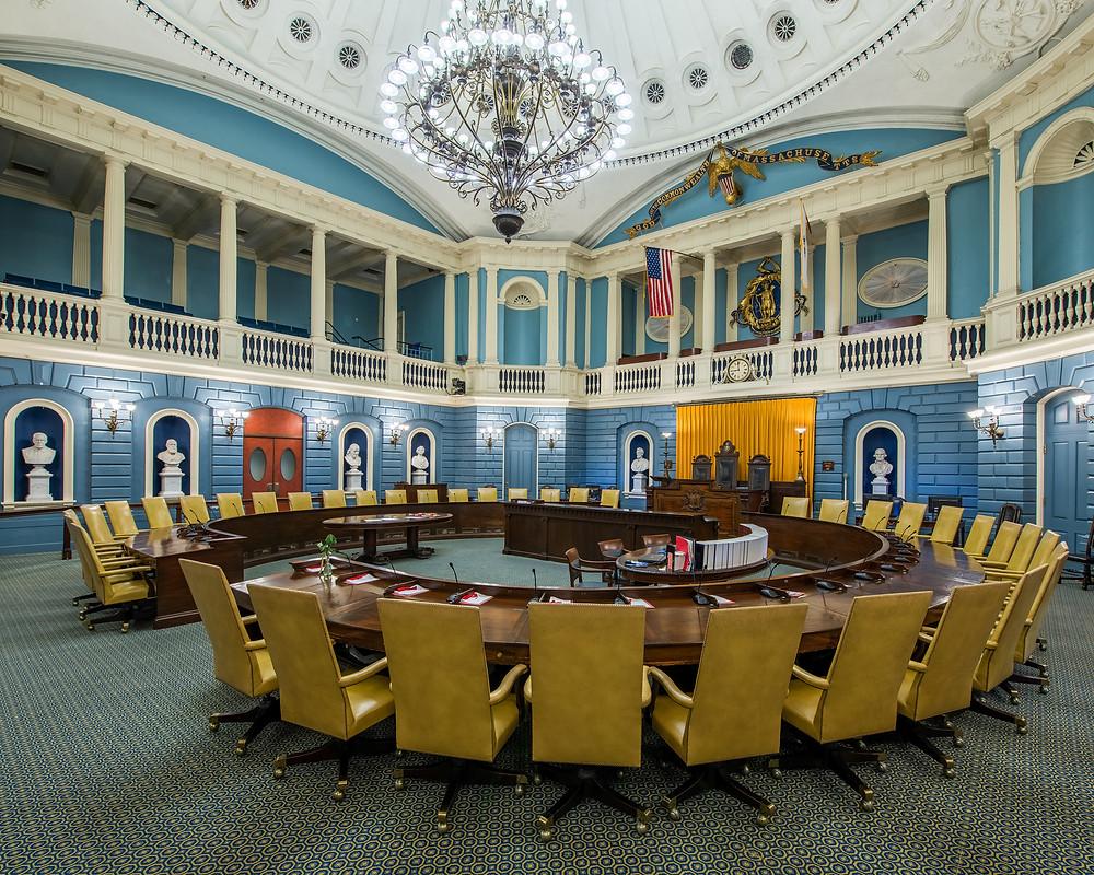 Senate chamber in the Massachusetts State House