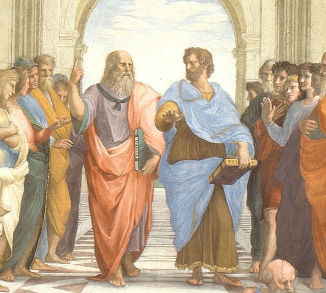 detail of Plato and Aristotle