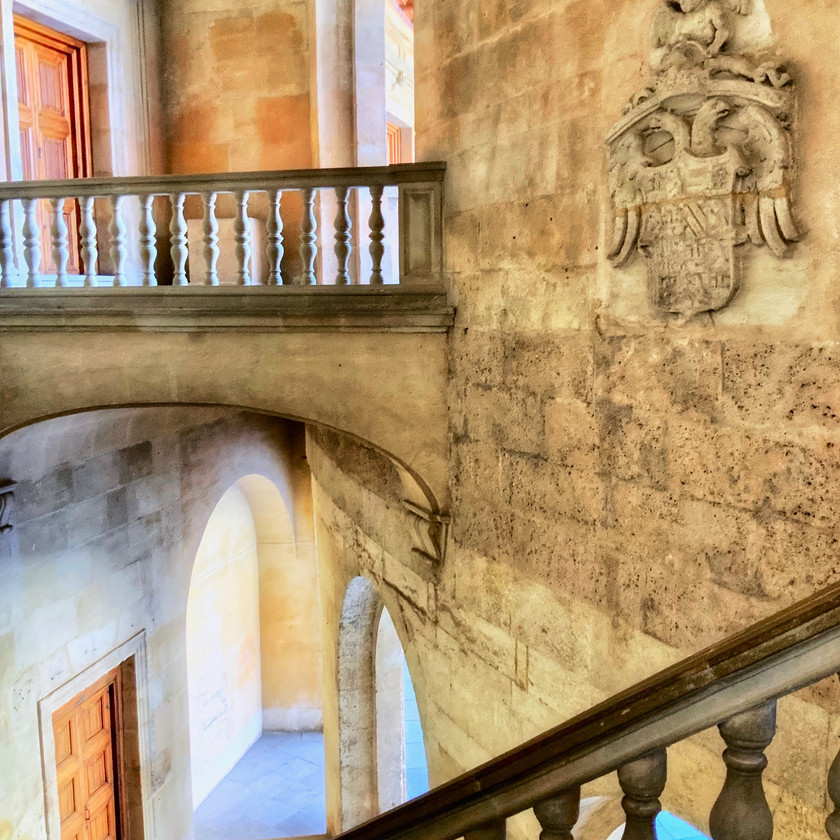 stairway in the Renaissance Palace of Charles V in the Alhambra