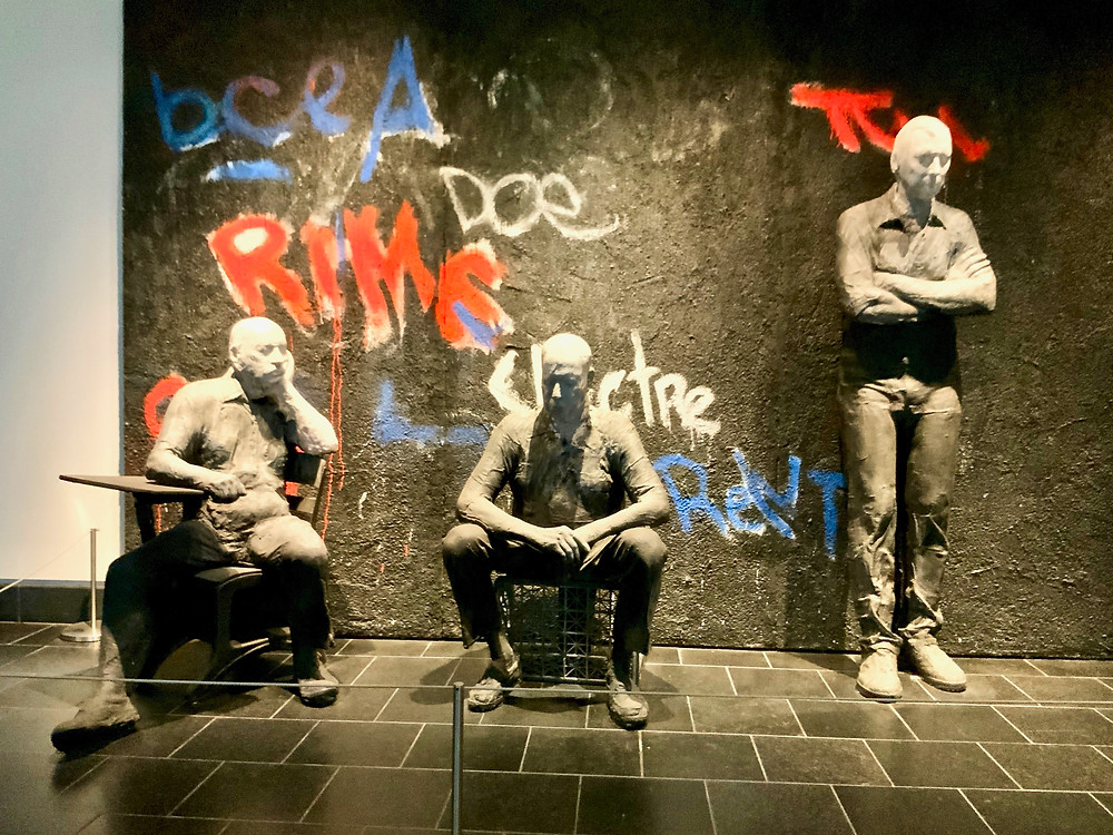 George Segal, Graffiti Wall, 1990 -- one of the first things you'll see upon entering the museum