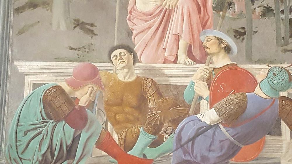 detail of Piero della Francesca's Resurrection in the Civic Museum of Monterchi