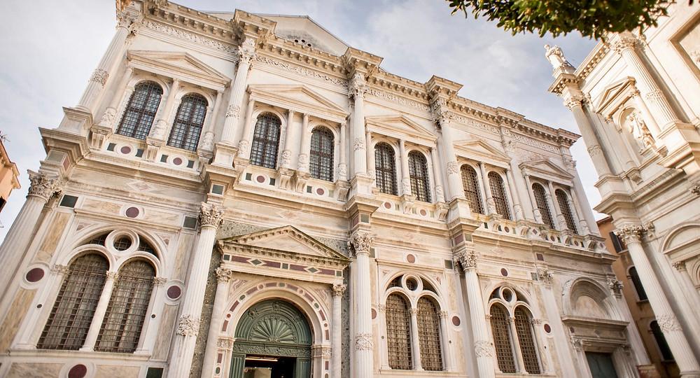 facade of Scuola Grande di San Rocco, a wonderful museum in Venice with Tintoretto frescos