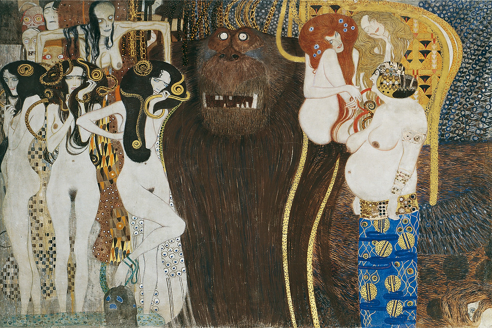Gustav Klimt, Detail of the Beethoven Frieze, 1902, Secession Building, Vienna, Austria