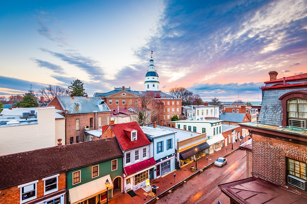 view over Main Street in Annapolis MD