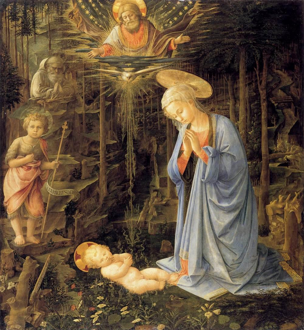 Fillipo Lippi, detail of Adoration of the Child, 1519 -- original is in Berlin