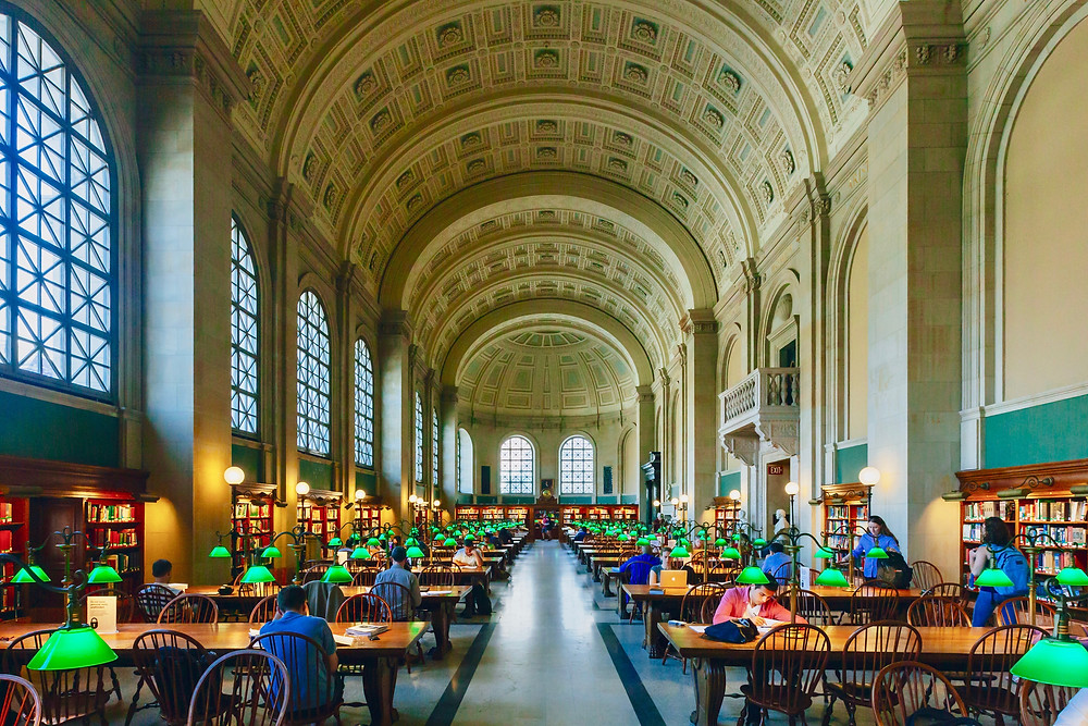 the Reading Room at McKim Building of Boston Public Library