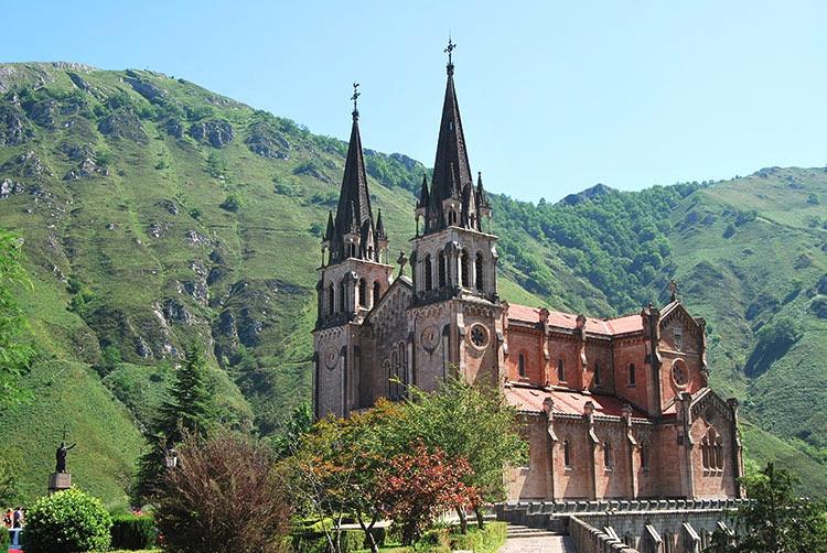 the Church of Santa María la Real de Covadonga in the Picos de Europe