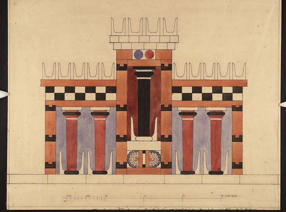 """""""Imaginary Restored Elevation of the Central Court,"""" a watercolor by an unidentified artist reinterpreting the Columnar Shrine, Central Court, Knossos, from the early 20th century.Credit...Ashmolean Museum, University of Oxford"""