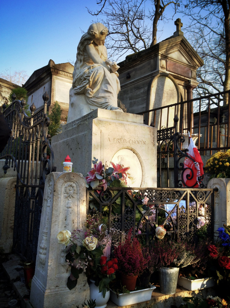 Chopin's grave, topped by Euterpe, the Greek muse of music