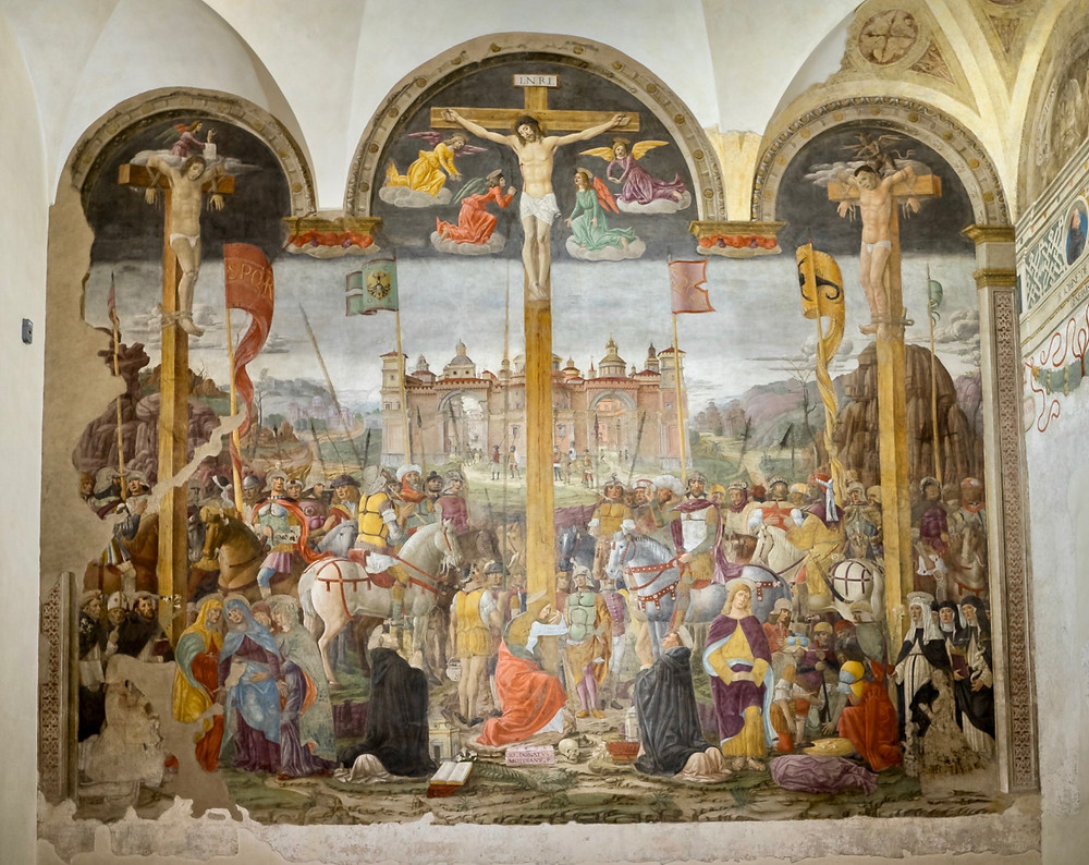 Giovanni Donato da Montorfano, Crucifixion, 1490s -- opposite The Last Supper