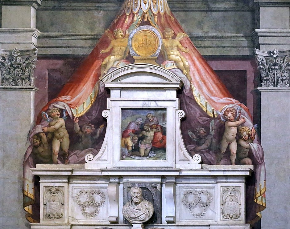 Giorgio Vasari, Michelangelo's Tomb in Santa Croce, 1564-74 -- Santa Croce is a celebrity necropolis
